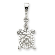 14k White Gold Solid Polished Open-Backed Turtle Charm