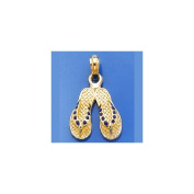 Gold Charm Blue Dotted Enamel Double Flip Flop
