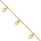 14k Child's Puffed Heart Charm Bracelet, Best Quality Free Gift Box Satisfaction Guaranteed