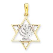 14k Yellow Gold and Rhodium Solid Menorah in Star of David Charm