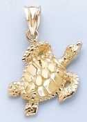 14k Gold Nautical Necklace Charm Pendant, Sea Turtle Textured