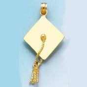 14k Gold Graduation Necklace Charm Pendant, 3d Graduation Cap High Polish & Move