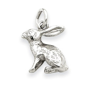 14k White Gold Solid Polished 3-Dimensional Rabbit Charm
