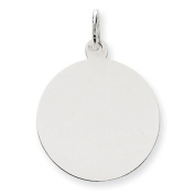 Genuine 14K White Gold Plain .018 Gauge Round Engravable Disc Charm 1.7 Grammes Of Gold  .  d.