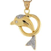 14k Two Tone Gold Real White CZ Dolphin Hoop Designer Charm Pendant