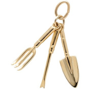 Rembrandt Charms Gardening Tools Charm, 10K Yellow Gold