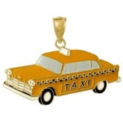 14k Gold Transportation Necklace Charm Pendant, Taxi Cab Enamel