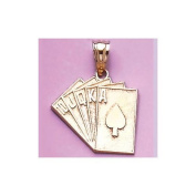 Gold Misc Charm Pendant Playing Cards Royal Flush Charm