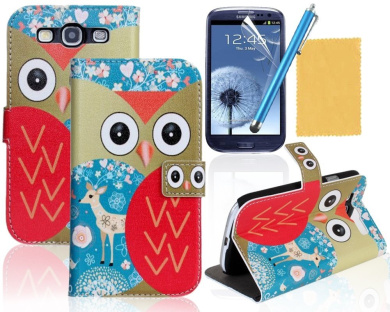 OMIU(TM) Beautiful Blue Owl Print Leather Wallet Case Cover With Stand Fit For Samsung Galaxy S3 i9300, With Credit Cards Slots, Screen Protector, Stylus and Cleaning Cloth