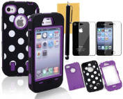 OMIU(TM) Colourful Hybrid Silicone With Dot Case Cover Protector For iPhone 4 4S(Black with Purple), With Screen Protector, Stylus and Cleaning Cloth