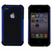 ASleek Blue/Black Hard Soft High Impact Armour Case Cover for Apple iPhone 4 / 4S