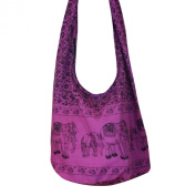 Hippie Elephant Sling Crossbody Bag Shoulder Bag Purse Thai Top Zip Handmade New Colour : Purple.