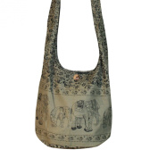 Hippie Elephant Sling Crossbody Bag Shoulder Bag Purse Thai Top Zip Handmade Colour Khaki