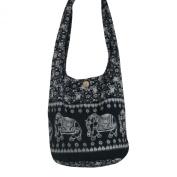 Hippie Royal Elephant Sling Crossbody Bag Purse Thai Top Zip Handmade New Colour Black.