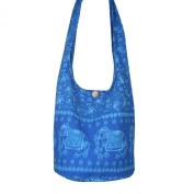 Hippie Royal Elephant Sling Crossbody Bag Purse Thai Top Zip Handmade New Colour Light Blue.