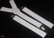 Unisex Adult White Adjustable Elastic Brace Suspenders Y back Plain Clip-on Belt