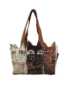 "Laurel Burch Medium Tote Zipper Top 37cm x 10cm X8"" Ancestral Cats"