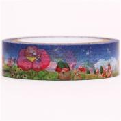 blue landscape with animals Washi Masking Tape deco tape