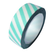 Dress My Cupcake DMC41WT308 Washi Decorative Tape for Gifts and Favours, Aqua Diamond Blue Stripes