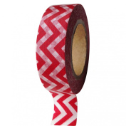 Dress My Cupcake DMC41WTMC671 Washi Decorative Tape for Gifts and Favours, Red Chevron