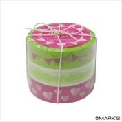 Japanese Washi Masking Tape Set of 3 - Tokyo Edge Garland Lime Pink