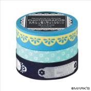 Japanese Washi Masking Tape Set of 3 - Editions de Paris Blue