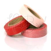 Japanese Washi Masking Tape Set of 3 - Mark's Basics Red