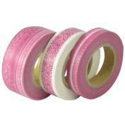 Japanese Washi Masking Tape Set of 3 - Scrapaholic Lace Pink