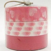 Japanese Washi Masking Tape Set of 3 - Pink Assorted Hearts Solid