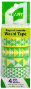 HIART Repositionable Washi Tape, Triangle Geos Yellow and Green, Set of 4