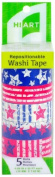 HIART Repositionable Washi Tape, American Flag, Set of 5