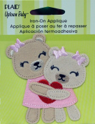 Uptown Baby 70710 Plush Fabric Iron on Appliques, Mommie and Me Bears