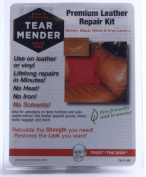 Tear Mender TM-P-LRK Bish's Original Tear Mender Premium Leather Repair Kit with Patches and Colour Refinish Compound, 60ml Bottle, for Black, Brown, White, and Grey Fabric