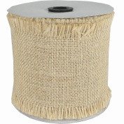 Fine Burlap Natural Colour Jute Ribbon Roll - 10cm Wide, Fringed