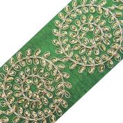Braided Ribbon Trim Green Sari Border Lace Craft Sequins Apparel Tape 1 yard
