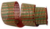 Renaissance 2000 Ribbon, 6.4cm , Red/Green and Gold Mesh