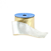 Berwick 6.4cm Wide by 10-Yard Spool Wired Edge Flipside Craft Ribbon, Gold
