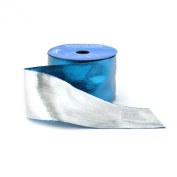 Berwick 6.4cm Wide by 10-Yard Spool Wired Edge Flipside Craft Ribbon, Turquoise