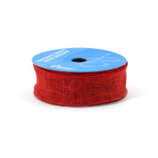 Berwick 3.8cm Wide by 10-Yard Spool Wired Edge Saddle Craft Ribbon, Red