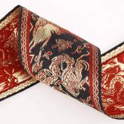Neotrims 8cm Chinese Dragon Decorative Trimming Ribbon, Great for Tie Backs, Home Decor. Metallic or Matte Options. Black Beige Terracotta & Vintage Gold.