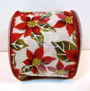 Jo-ann's Holiday Inspirations Ribbon,red Poinsettias,gold Glitter Accents,wire Edge,6.4cm x 12ft.