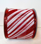 Jo-ann's Holiday Inspirations Ribbon,white with Red Glitter Stripes,red Glitter Trim,6.4cm x 12ft.