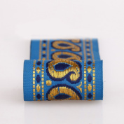 Neotrims Decorative Indian Paisley Salwar Kemeez Sari Trimmings Ribbon By The Yard, Great Price Limited Edition Embellishment, Non Repeatable, Great Value. Turquoise, Navy with Gold; Beautiful.