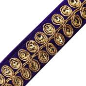 Indian Fabric Trim Crafting Purple Leaf Pattern Dress Apparel Border Lace By The Yard