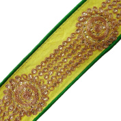 Green Fabric Trim Traditional Sequin Striped Pattern Border Lace By The Yard