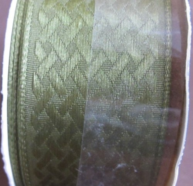 Offray Harvest Craft RIBBON TRIM w WIRE EDGES Colour MOSS GREEN 9 FEET Long x 2.5cm - 1.3cm Wide