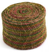 Kel-Toy Mixed Colour Jute Burlap Ribbon Roll, 10cm by 10-Yard, Olive/Burgundy/Rust