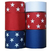 30 Yds Red / White / Blue Stars, Solids Grosgran Ribbon
