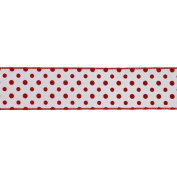 Vickerman 78050cm - 6.4cm x 10yd White / Red Dot Ribbon