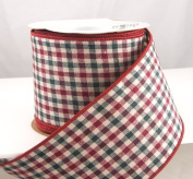 Holiday Gingham Wired Red, Black and Tan Checked Christmas Ribbon 6.4cm -10 Yards